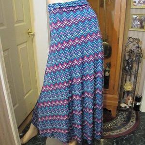 LuLaRoe Blue & Pink Maxi Skirt size 2XL
